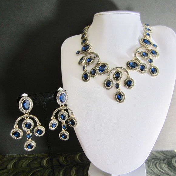 62cfc973c Oscar de la Renta Navy Crystal Necklace & Earrings.  M_5c40edb29539f700be712b84